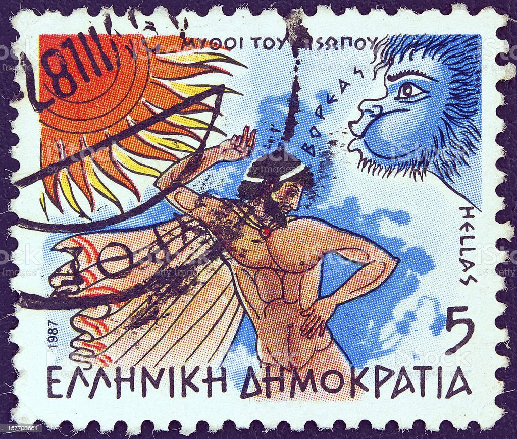 Greek stamp shows 'North Wind and the Sun' (1987) stock photo
