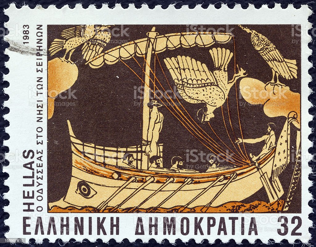 Greek stamp shows Odysseus and Sirens (1983) stock photo