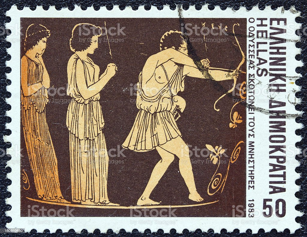 Greek stamp shows Odysseus slaying suitors (1983) royalty-free stock photo