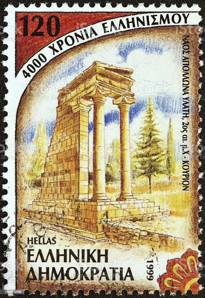 Greek stamp shows sanctuary of Apollo Hylates, Kourion (1999) royalty-free stock photo
