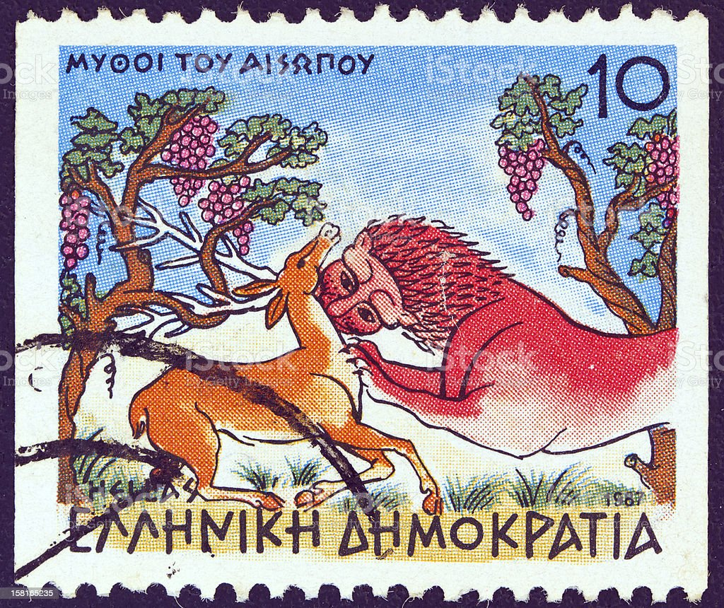 Greek stamp shows 'Stag at Spring and the Lion' (1987) stock photo