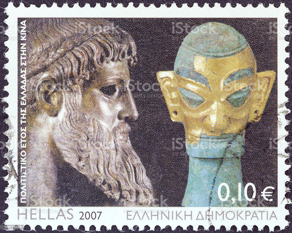 Greek stamp shows Zeus statue and Chinese bronze head (2007) stock photo