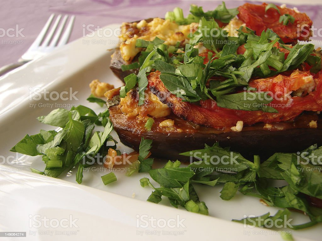Greek stuffed eggplant royalty-free stock photo