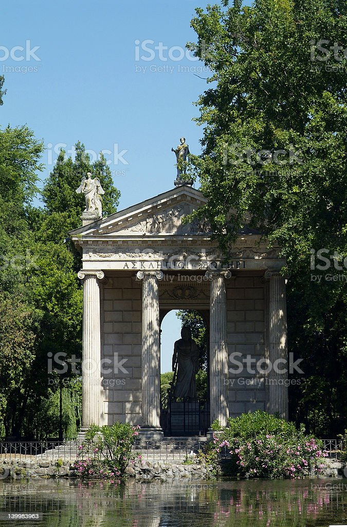 Greek style temple in Rome stock photo