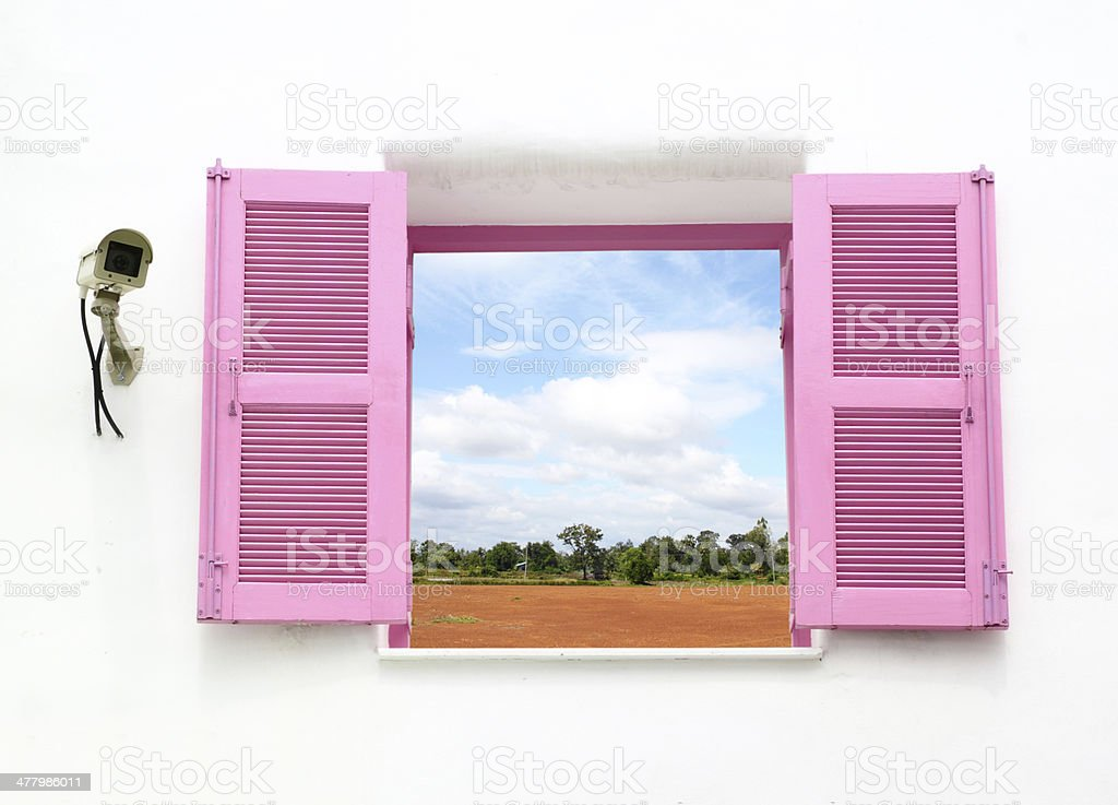 Greek style windows   with cctv and nature country stock photo