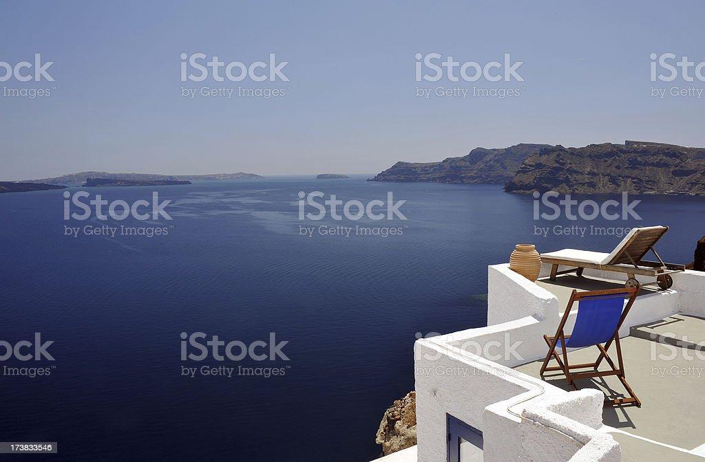 Greek sunbeds royalty-free stock photo