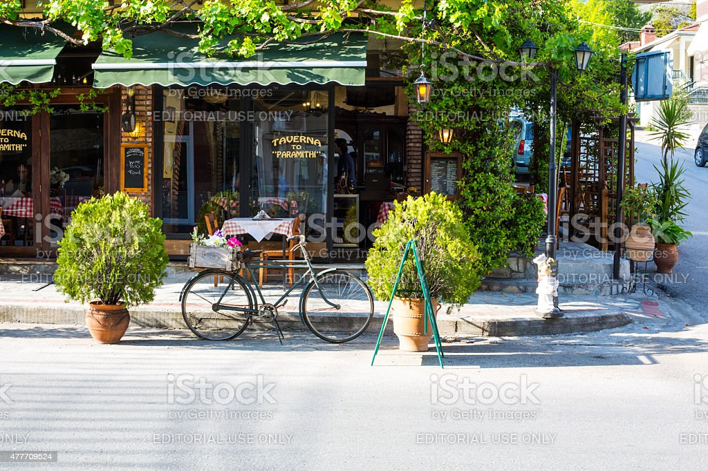 Greek tavern at Meteora stock photo