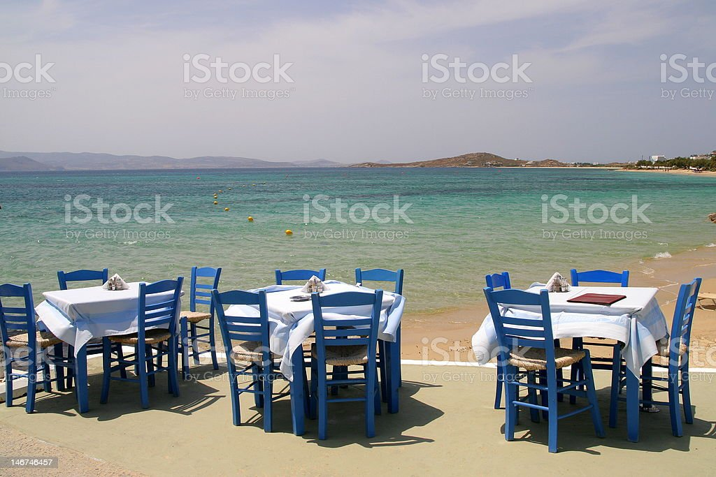 Greek tavern by the sea royalty-free stock photo