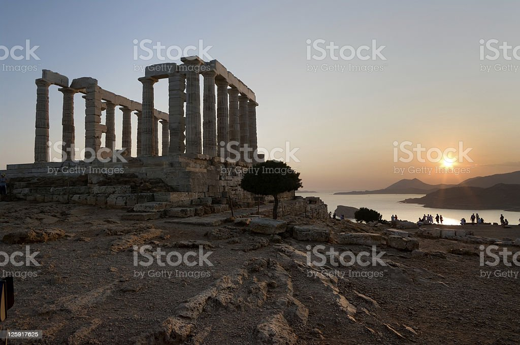 Greek temple at sunset stock photo