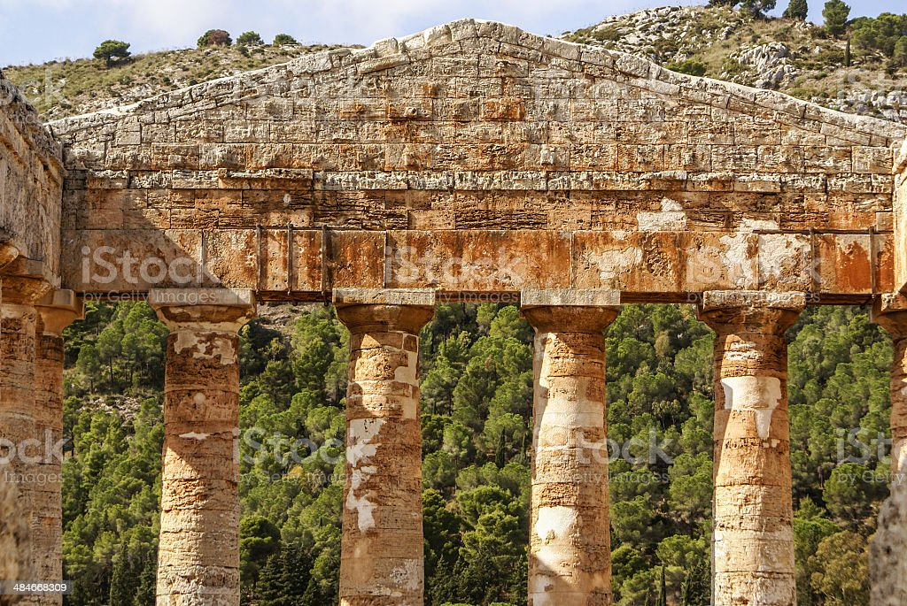 greek temple in the ancient city of Segesta, Sicily royalty-free stock photo