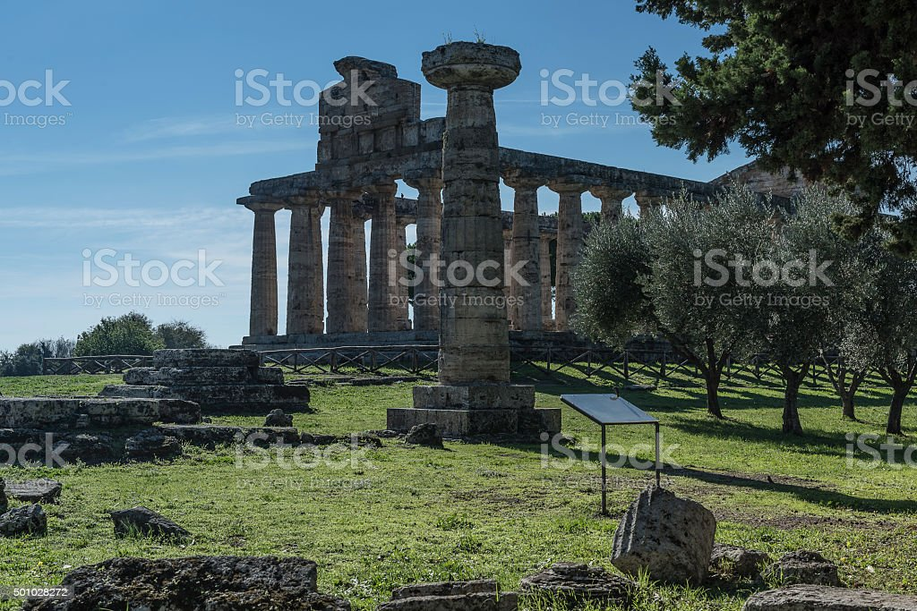 Greek Temple of Ceres, Paestum, Cilento Italy stock photo