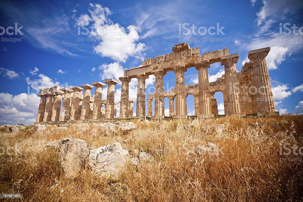Greek temple of Hera at Selinunte in Sicily, Italy royalty-free stock photo