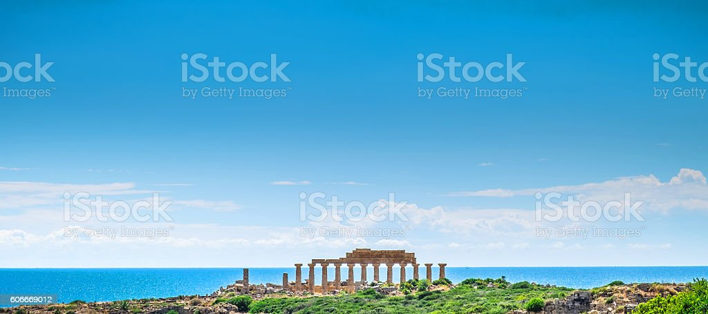 Greek Temple of Selinunte - Sicily seen through the glass stock photo