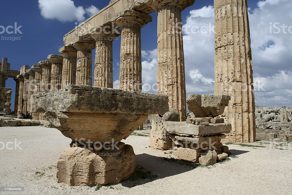 Greek Temple with Altar in Sicily royalty-free stock photo