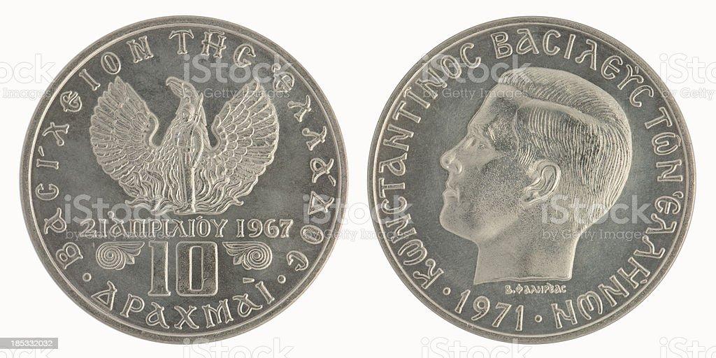 Greek Ten Drachma Coin royalty-free stock photo