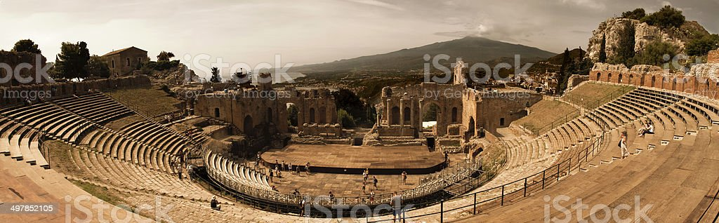 Greek Theater and Etna Volcano, stock photo