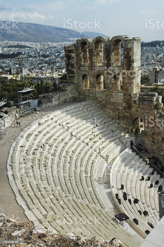 Greek Theater at Acropolis royalty-free stock photo