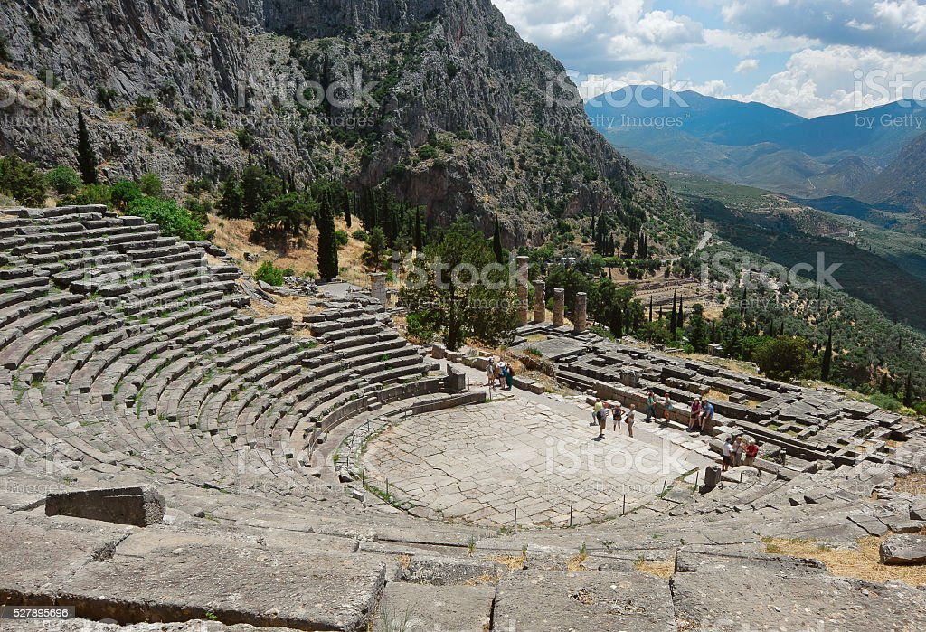 Greek theater in Delphi, Greece stock photo