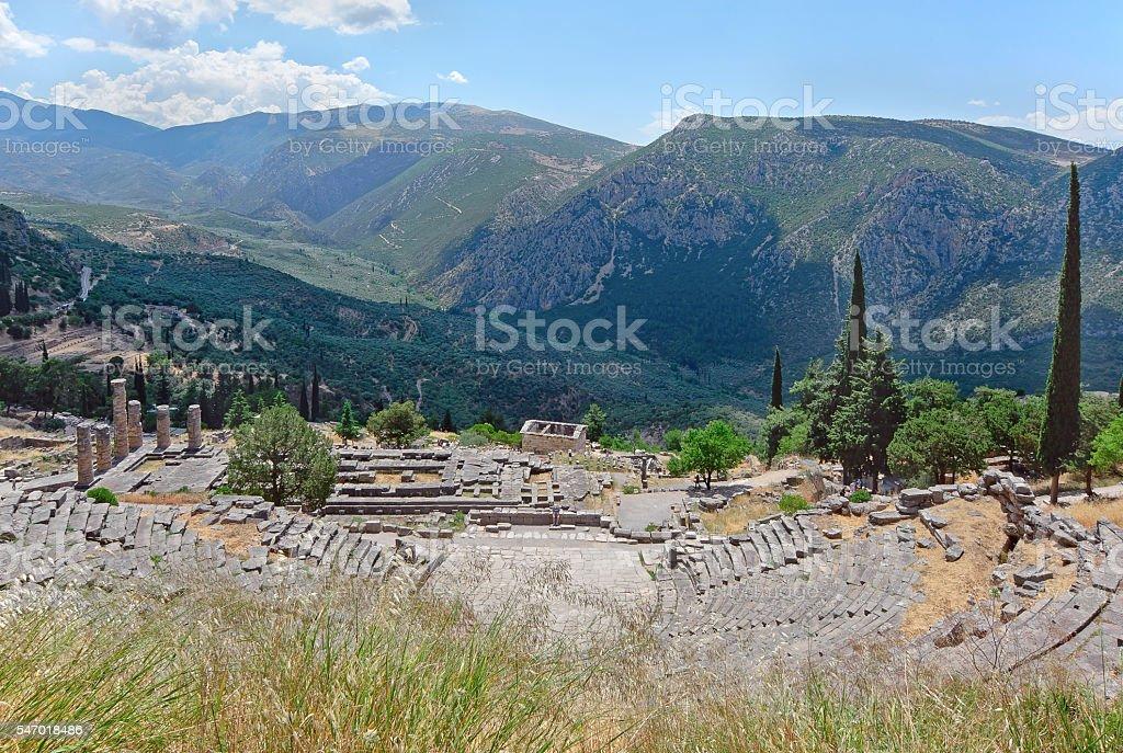 Greek theater in Delphi, Greece stock photo