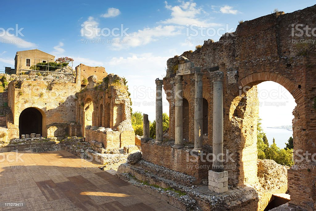 Greek Theater & Mount Etna, Sicily, Italy stock photo