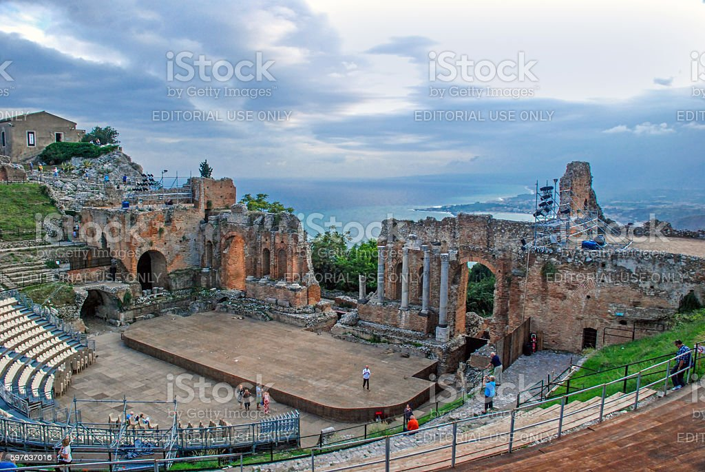 Greek theater of Taormina stock photo
