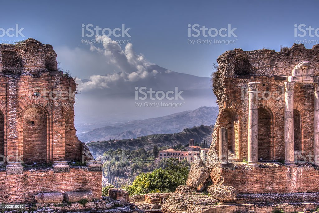 Greek Theatre and Mount Etna at Taormina, Sicily stock photo