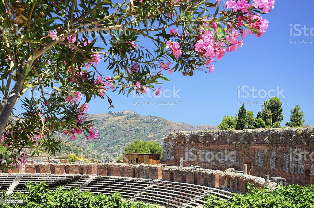 Teatro Greco in Taormina stock photo