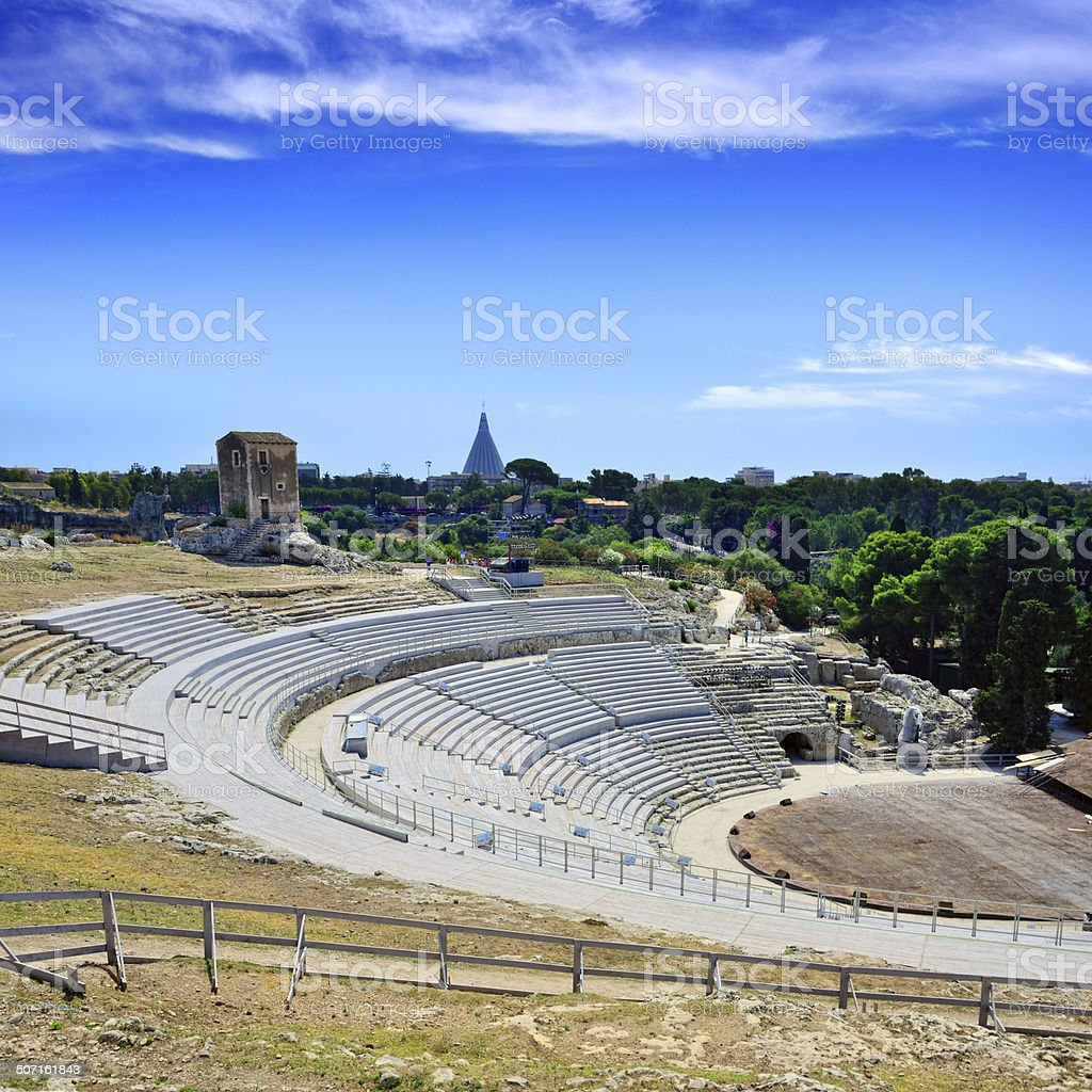 Greek Theatre of Syracuse stock photo