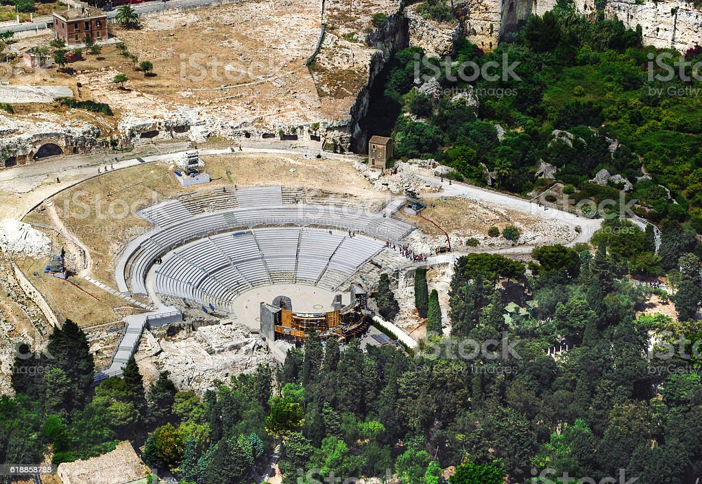 Greek Theatre of Syracuse Sicily stock photo