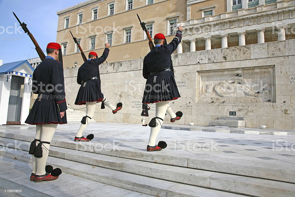 Greek Tomb of the Unknown Soldier guards stock photo