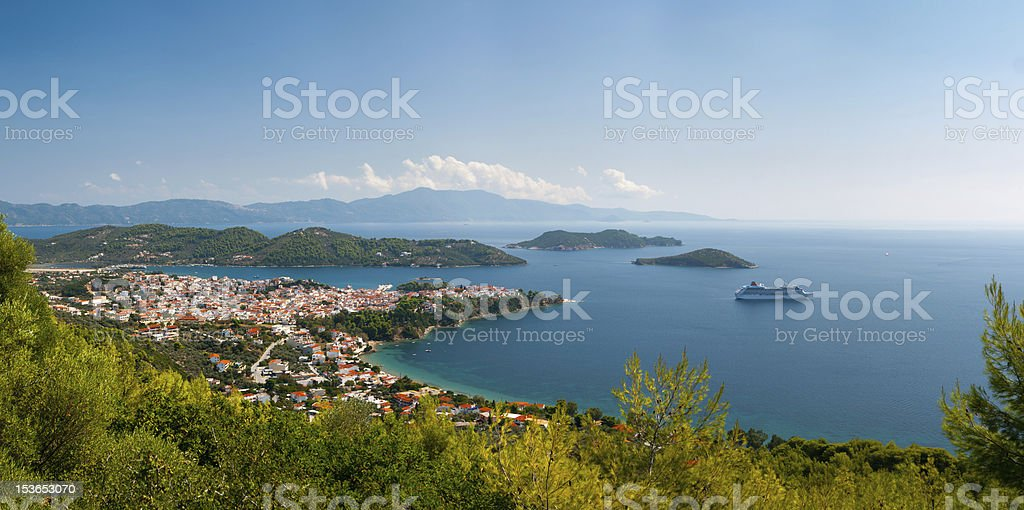 Greek  town in a bay royalty-free stock photo