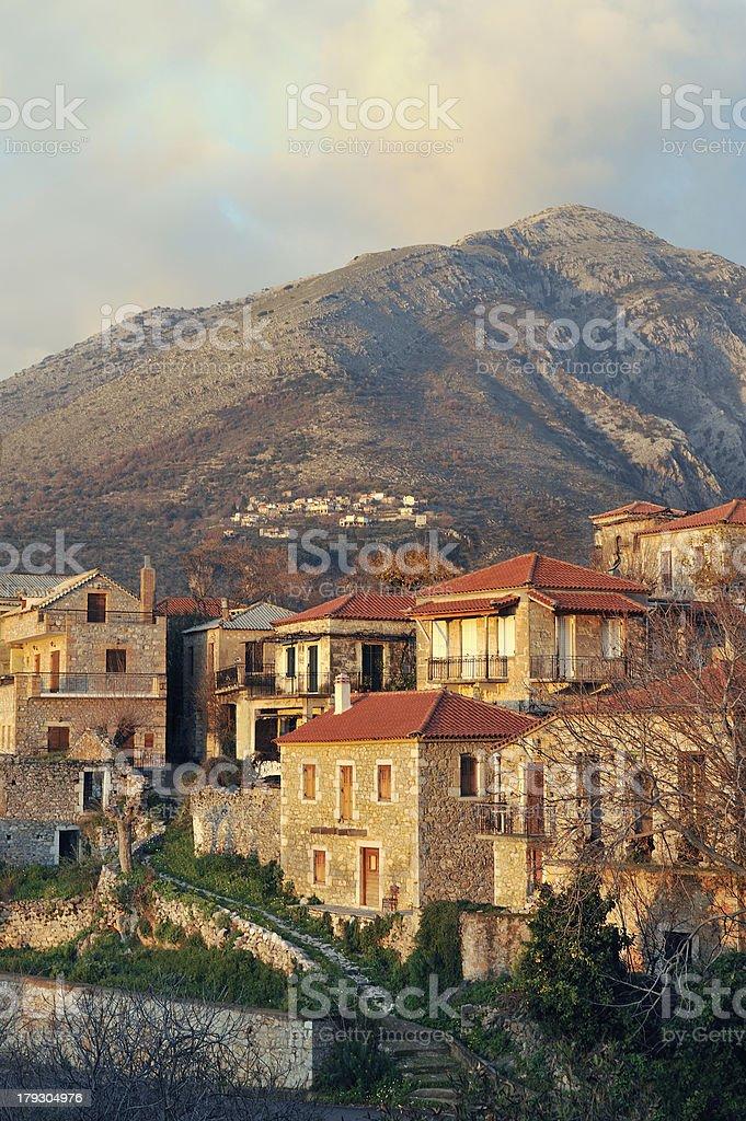 Greek village from Mani peninsula stock photo