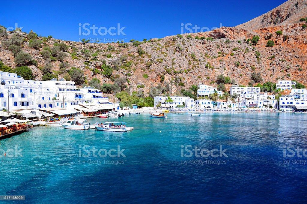 Greek village of Loutro, Crete stock photo