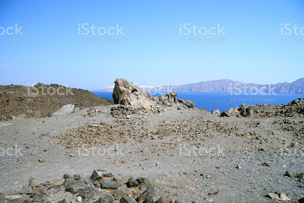 Greek volcano, Kameni stock photo