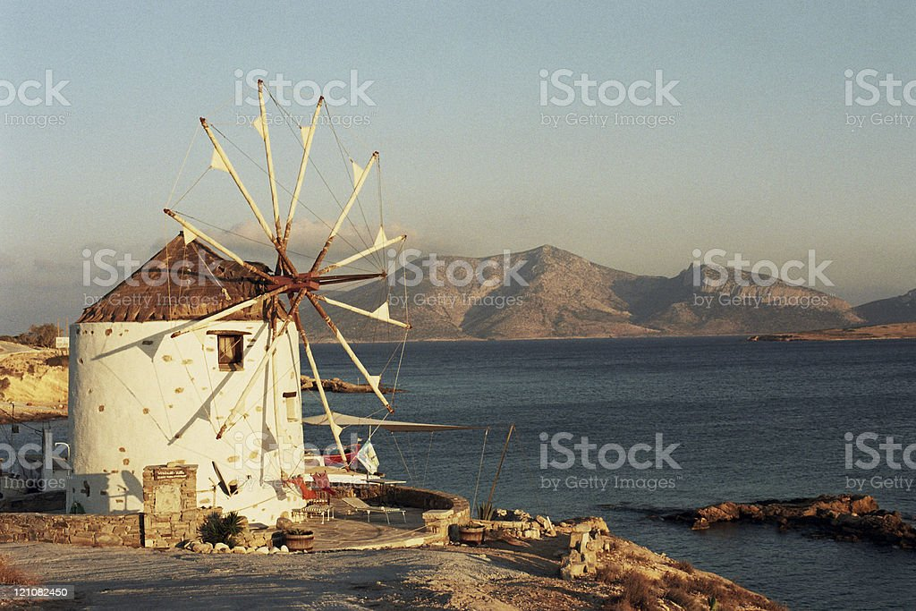 Greek, Windmill, Landscape royalty-free stock photo