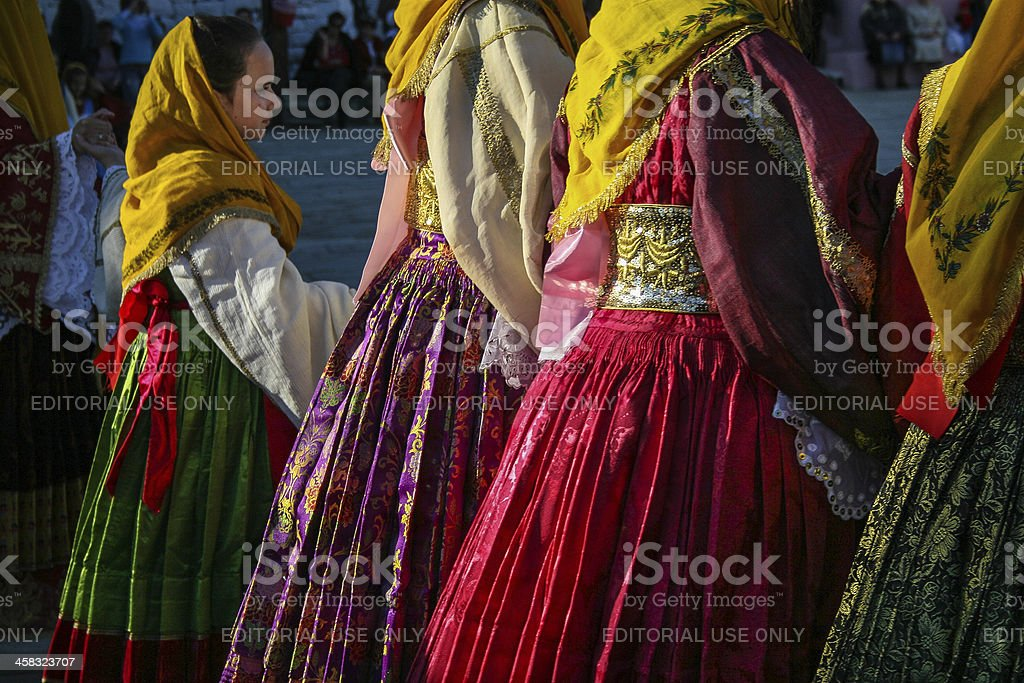 Greek women and girl dancing in traditional costume. royalty-free stock photo