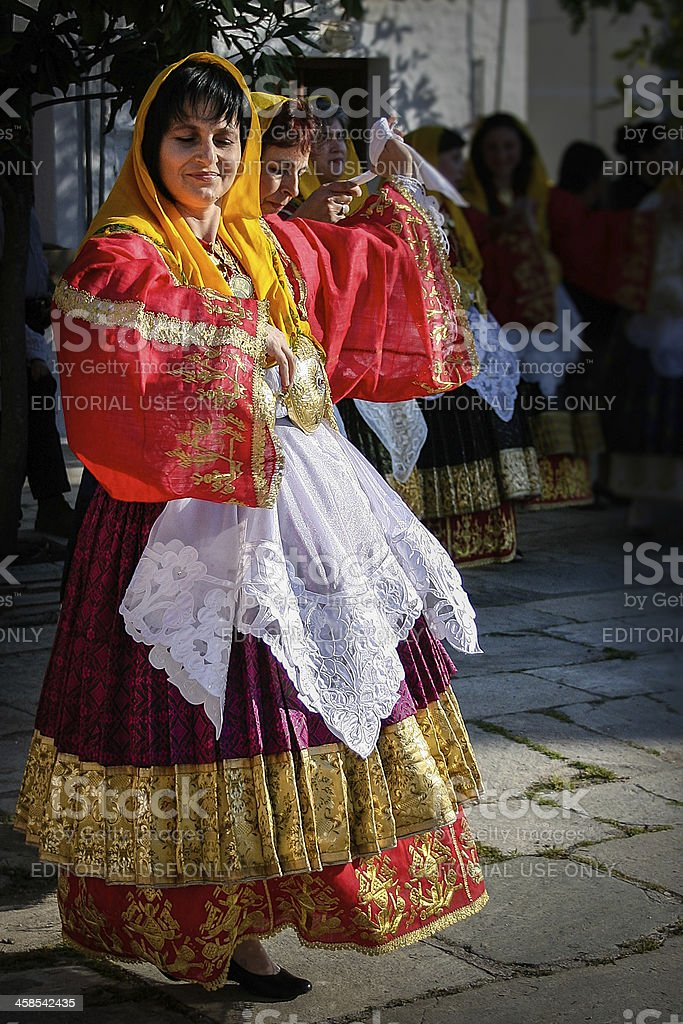 Greek women performing traditional dance royalty-free stock photo