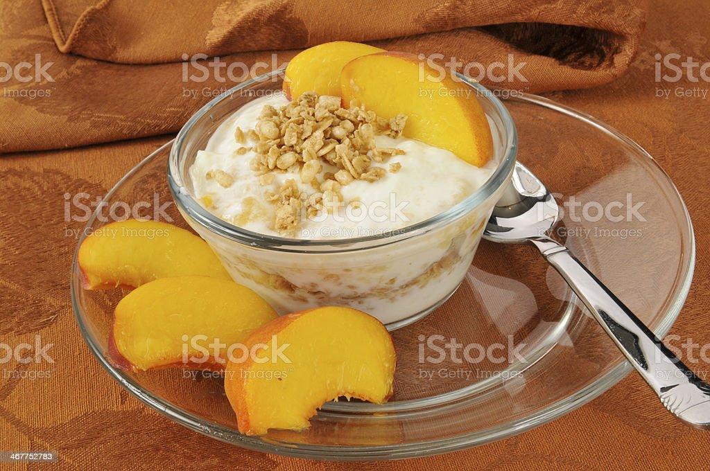 Greek yogurt with peaches stock photo