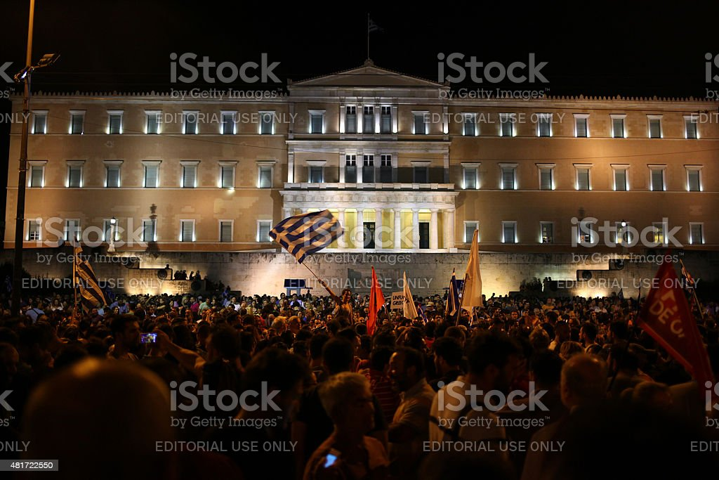 Greeks celebrate the referendum results in Syntagma square stock photo