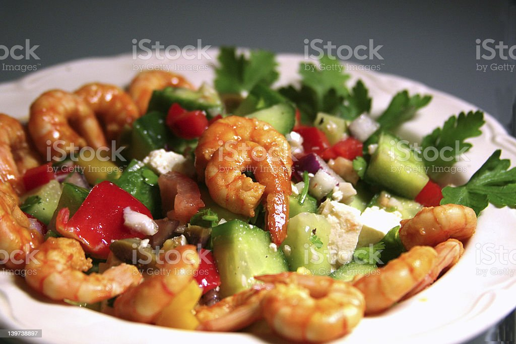 greek-style salad with shrimps royalty-free stock photo