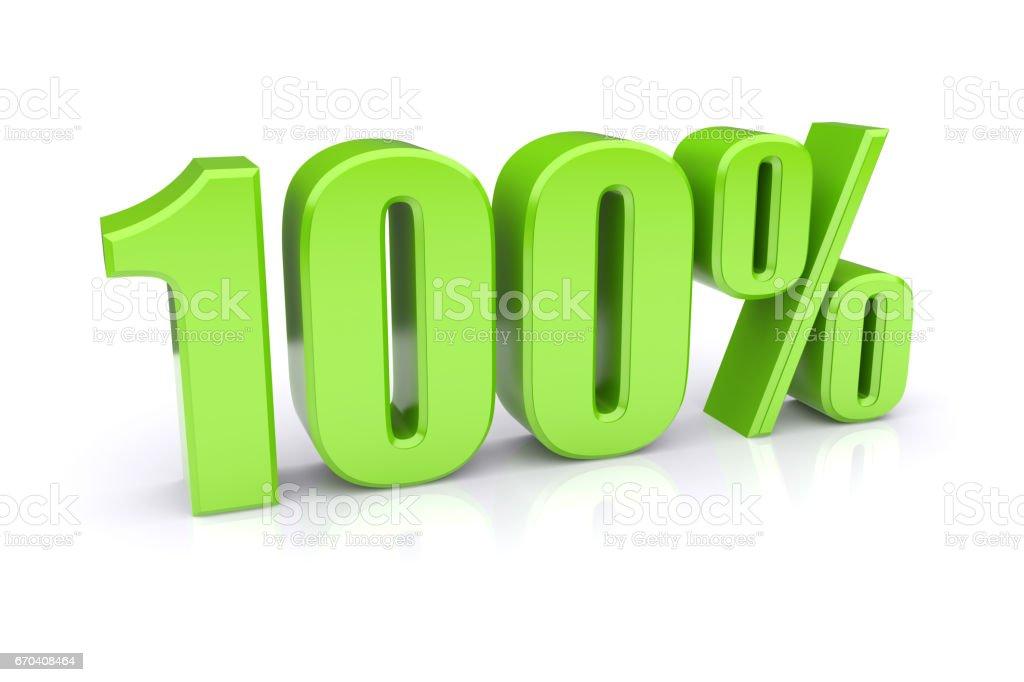 Green 100% on a white stock photo