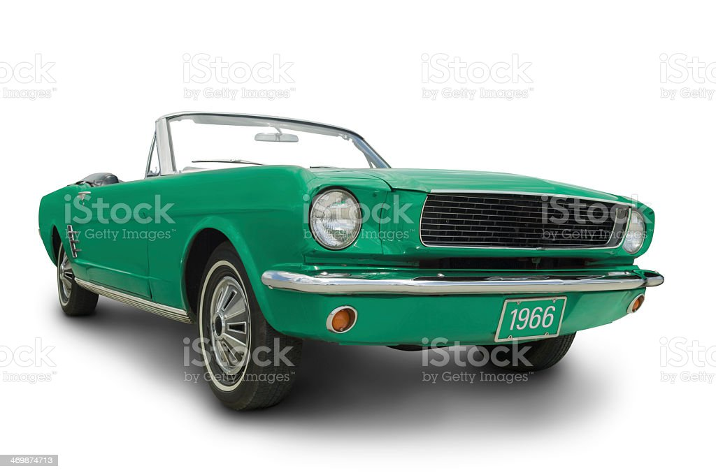 Green 1966 Mustang convertible isolate on white stock photo