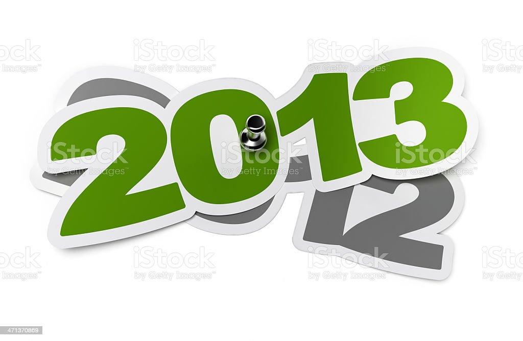 Green 2013 sticker vs 2012 stock photo
