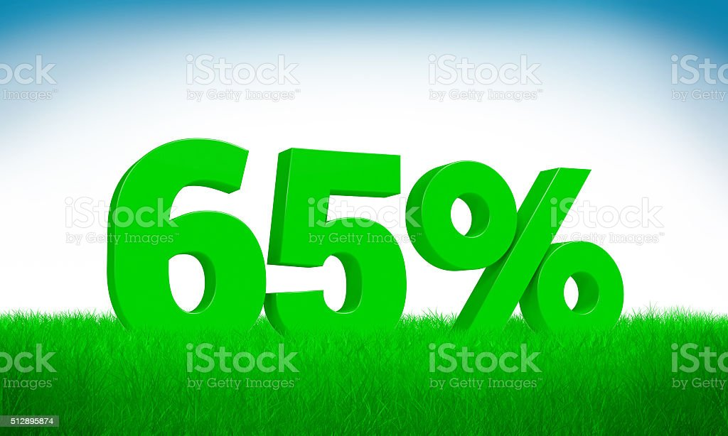 Green 3d 65% text on grass background. stock photo