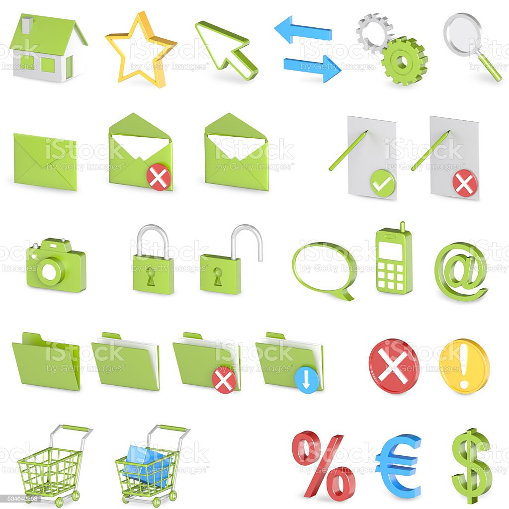 Green 3D Iconset stock photo