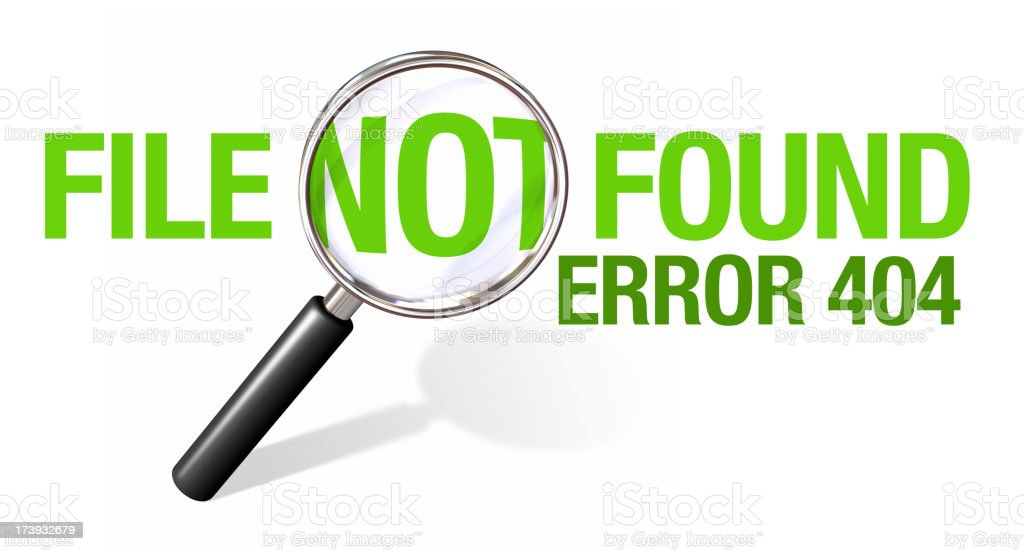 Green 404 error message with magnifying glass  stock photo