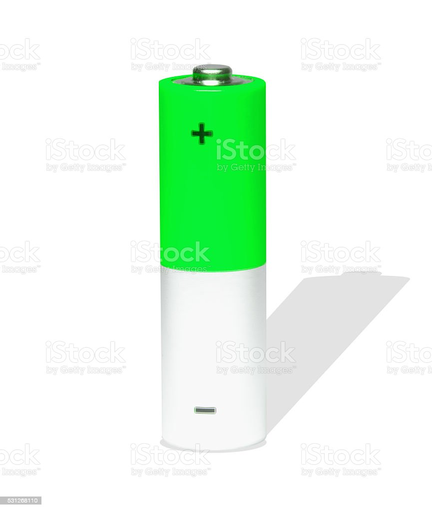 green AA Battery stock photo