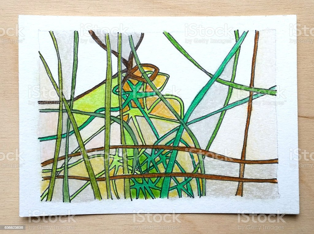 Green abstract landscape drawing stock photo
