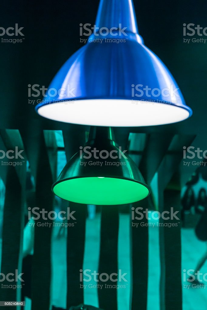 Green abstract theme with modern lamp stock photo
