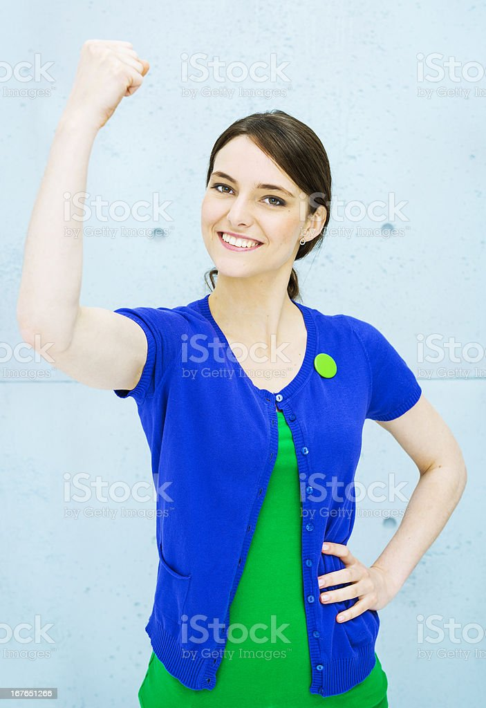 Green activist. Winner! royalty-free stock photo